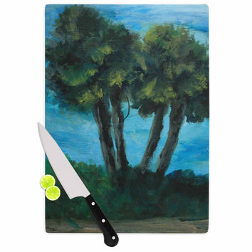 "Cyndi Steen ""Twin Palms"" Blue Green Cutting Board"