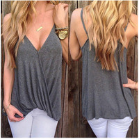 Summer Women's Fashion V-neck Irregular T-shirts [6343439361]