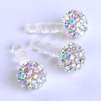 1pc 3.5mm Ab Crystal Ball Anti Dust Plug Stopper for Iphone4/4s Cellphone: Cell Phones & Accessories