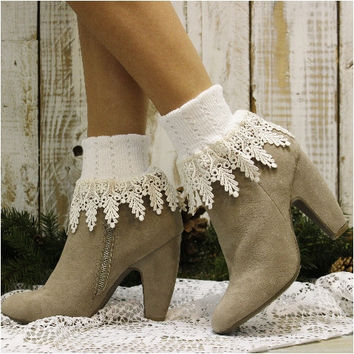 SIGNATURE lace socks - white w ivory lace