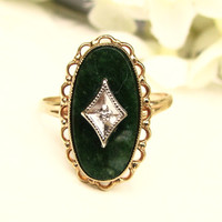 Vintage Aventurine Diamond Accent Ring 10K Gold Scalloped Filigree Ring Art Deco Style Navette Ring Size 6.5!