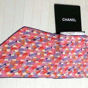 CHANEL Paris Scarf Scarves Stole Shawl Silk 100% Women Luxury Auth Mint Rare