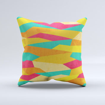 Vibrant Bright Colored Connect Pattern  Ink-Fuzed Decorative Throw Pillow