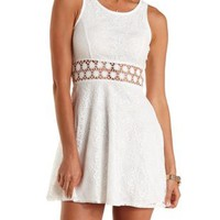 Ivory Daisy Crochet & Lace Skater Dress by Charlotte Russe