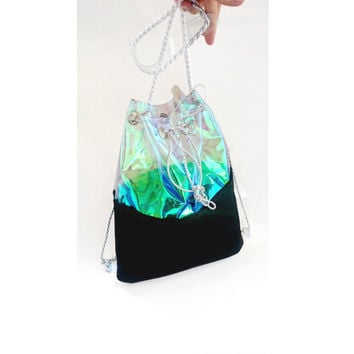 Clear  holographic backpack, Bucket Bag, Tote Bag, felt backpack, 90s backpack, Felt Tote, mermaid bagpack,psycho bag,Shoulder bag, 2in1