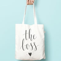 The Boss Tote / Shopping Bag. Made from 100% recycled material. Gift for a total boss. Hustle Shopper. Calligraphy lettering tote