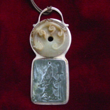 Jade Pendant Asian Carved Dragon Figurative Silver Frame