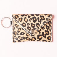 Leopard Print Pony Hair Keychain Wallet - Accessories