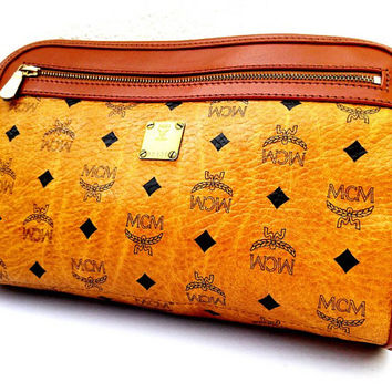 Authentic Vintage MCM Monogram Leather Fashion Designer Make Up Clutch Bag