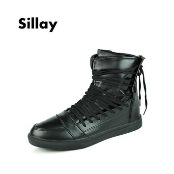 2017 New Fashion High Top for Men's Boots PU Leather Lace Up Red White Black Color Men High Top Shoes Australia Waterproof Shoes