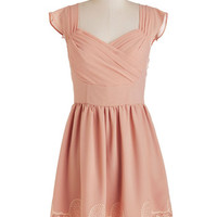 ModCloth Pastel Mid-length Cap Sleeves A-line Let's Reminisce Dress in Petal