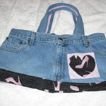 Up-Cycled denim jean purse Denim tote bag I love Shoes purse Blue jean bag Denim hand bag Gifts for her ©Jack Jack's Wayart
