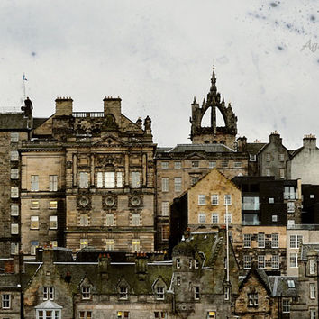 Edinburgh Skyline Print, Scotland Art, Urban Photography, City Art, Architectural Decor, Brown, Orange, 8x10