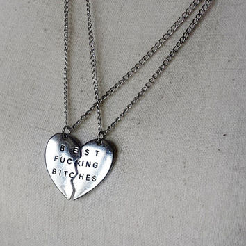 Best F*cking Bitches Set of 2 Necklaces - Stamped Best Bitches Pendants - Best Bitches Jewelry - BFF Necklace - BFF Jewelry - Best Friends
