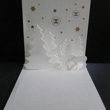 Authentic CHANEL Card  Deer Logo Paper MINI 3D Christmas Card / Xmas / Holiday / Birthday / Greeting / Wedding / Party Invitation / Gift