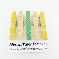 Clothespin Magnets | Kitchen Clips | Dorm Magnets | Neodymium Magnets | Decoupaged Magnets | Magnet Clips | Yellow Magnets | Cute Magnets