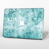 The Cracked Turquise Marble Surface Skin Set for the Apple MacBook Laptop (Most Versions Available - Choose Coverage)