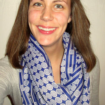 SALE! Blue & White Patterned, Cloth, Handmade, Infinity Scarf.