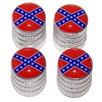 Rebel Confederate Flag Tire Valve Stem Caps - Aluminum