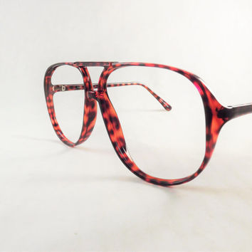 mens eyeglasses big geeky tortoise shell aviator glasses cherry red frames new old