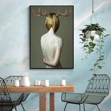 Ins Style Decoration Antlers Deer Poster And Print Sexy Girl Back Wall Art For Living Room Modern Cuadros Decoracion Salon HD