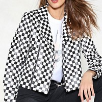 Check Ahead Checkerboard Vegan Leather Moto Jacket