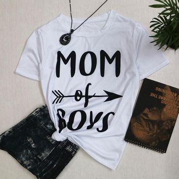 Unisex Casual Sexy Tee MOM of BOYS T-Shirt Graphic Printed Shirt Funny Letter Girl Cut Top Fashion Tumblr Hipster Outfits tshirt