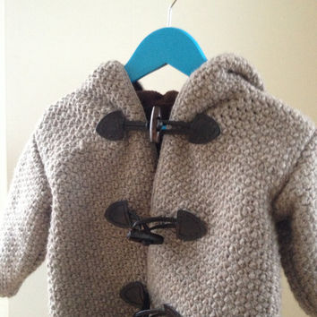 Childrens duffel coat pattern - crochet and sewing