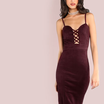 Cross Bust Slip On Faux Suede Bodycon Dress EGGPLANT | MakeMeChic.COM