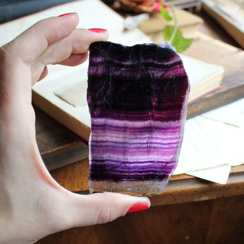 Purple Banded Fluorite Slab