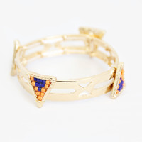Orange and Navy Quadruple Triangle Bracelet