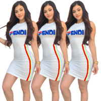 Fendi  Fashion Summer New Letter Print Leisure Vest Dress Women White