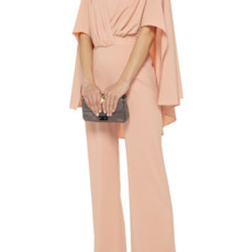 Badgley Mischka Cape-back crepe jumpsuit – 50% at THE OUTNET.COM