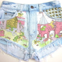 Vtg Levis My Little Pony Studded HIGH WAISTED Cut Off Denim FESTIVAL Shorts XS