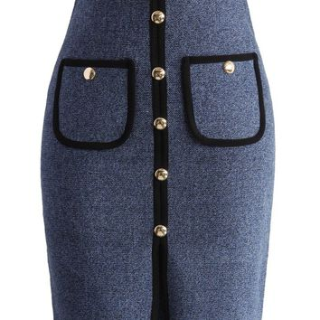 Studded Pockets Knitted Pencil Skirt in Blue