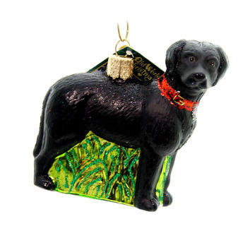 Old World Christmas Standing Black Lab Glass Ornament