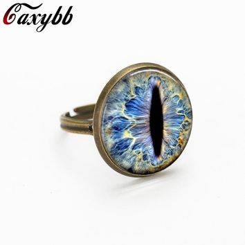 2016 3 colors Dragon plated eye Glass Cabochon Dome jewelry rings gift for send friend adjustable rings handmade 100%