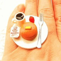 Coffee and Pancake Miniature Food Ring STRAWBERRY