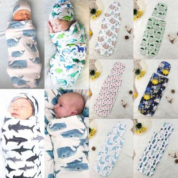 New 2Pcs Newborn Baby Animal Cartoon Print Sleeping Bags Blanket Swaddle Stroller Wrap+Hat Cotton Soft Warm Swaddling