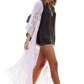 Boho fringe summer beach cover up lace blouse shirt hollow out sexy long cardigan swimwear output white women blouses
