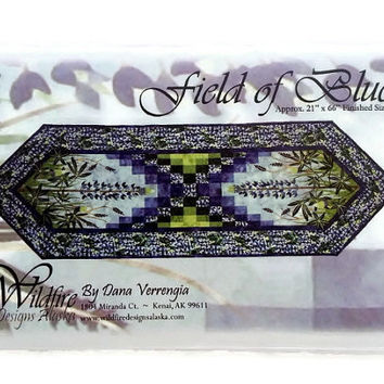 Field of Blue Applique Quilt Pattern by Wildfire Designs Alaska for Table Runner, Placemats & Napkins!