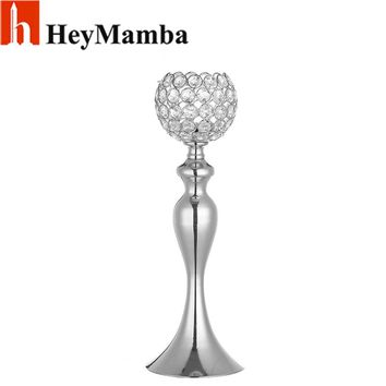 HeyMamba Crystal Candle Holder Metal Candle Stand Mermaid Wedding Table Candelabra Centerpiece Flower Rack Stands