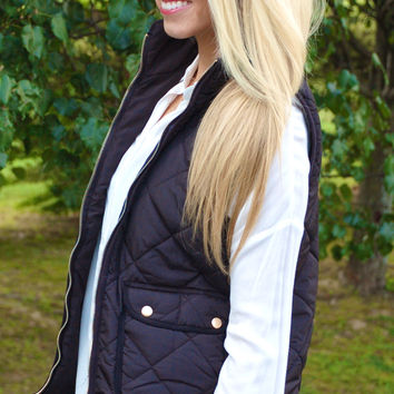 Quilted Equestrian Vest - Black