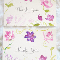 Thank you cards-- Hand Painted Floral Watercolor- -Set of 10 With envelopes-- Paper Goods