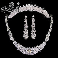 Fashion Wedding/Bridal crystal veil tiara crown Necklace Clip Earrings