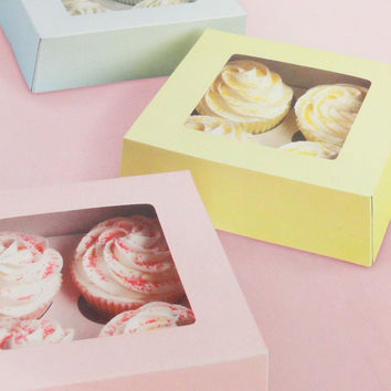 3 Cup Cake Boxes hold 4 cupcakes each pastel by austriandesigns