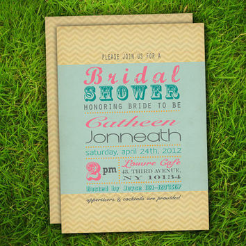 Vintage Chevron ZigZag Bridal Shower / Couple Shower / Bachelorette / Baby Shower / Birthday / Party Invitation Card - Printable