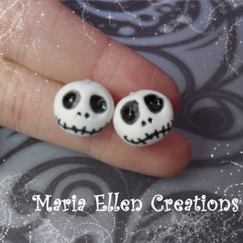 Jack Skellington inspired polymer clay post stud earrings - The nightmare before christmas inspired