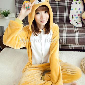 Kigurumi Anime Unisex Adult Rilakkuma Bear Onesuits Children Pajamas Cosplay Costume For Halloween Carnival Masquerade Party