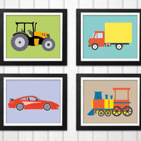 Nursery Prints set Tractor Truck Car Train INSTANT DOWNLOAD